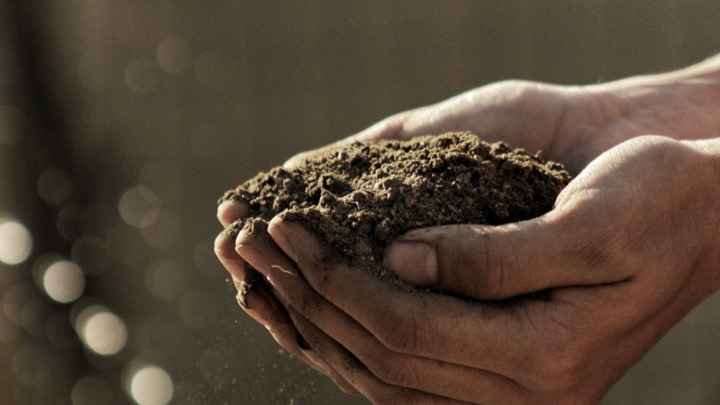 Soil in hands image