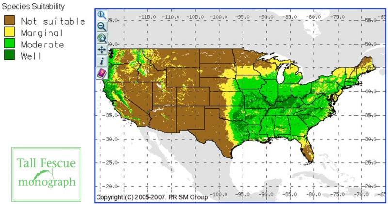 Tall fescue suitability map USA